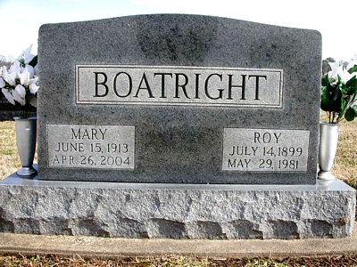 Roy E. and Mary Taylor Boatright Gravestone: