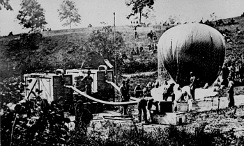 Hot Air Balloon being filled during Civil War