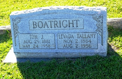 Thomas Jefferson and Lavada Tallant Boatright Gravestone: