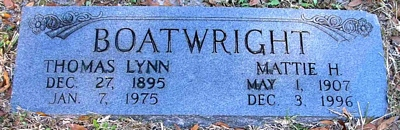 Thomas Lynn and Mattie Mae Hart Boatwright Marker
