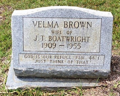 Velma Brown Boatwright Gravestone