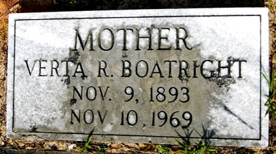 Verta R. Lee Boatright Gravestone: