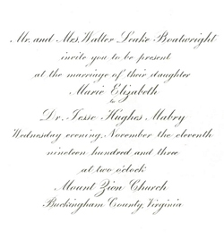 Wedding invitation for Marie Boatwright and Jesse Mabry