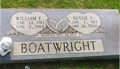 William Earl and Bessie Frederick Boatwright Gravestone