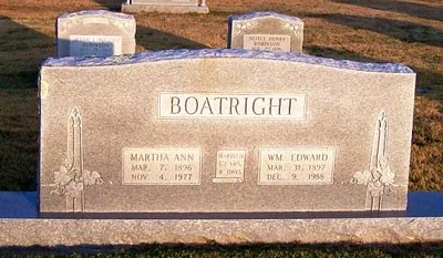 William Edward and Martha Ann Boyd Boatright Gravestone