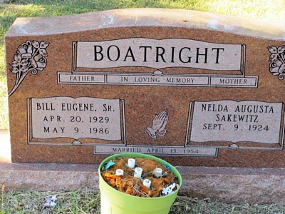 William Eugene and Nelda Augusta Sakewitz Boatright Gravestone