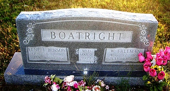 William Freeman and Elsie Irene Benson Boatright Gravestone