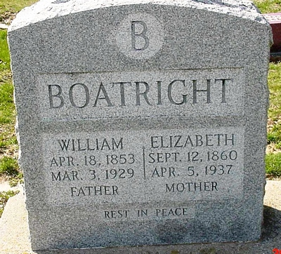 William Henry and Elizabeth W. Berry Boatright Gravestone