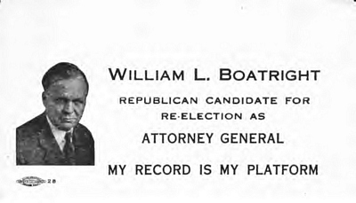 William Louis Boatright campaign poster for Attorney General