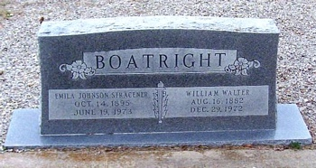 William Walter Boatright and Emila Amanda Johnson Gravestone