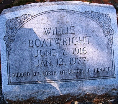 Willie Boatwright Gravestone