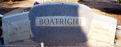 Willie Yater and Beatrice Mae Holland Boatright Gravestone